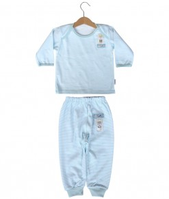 Long Tee Stripes Set (2-12M) - Blue