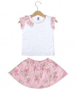 Prim Girl Top + Skirt - Pink Bubble