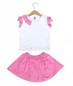 Prim Girl Top + Skirt - Pink Polka
