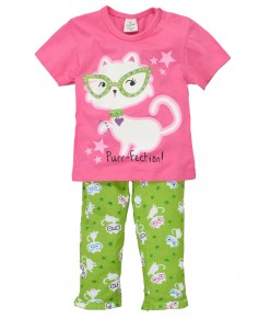 Purrfection Pink Tee + Green Pant